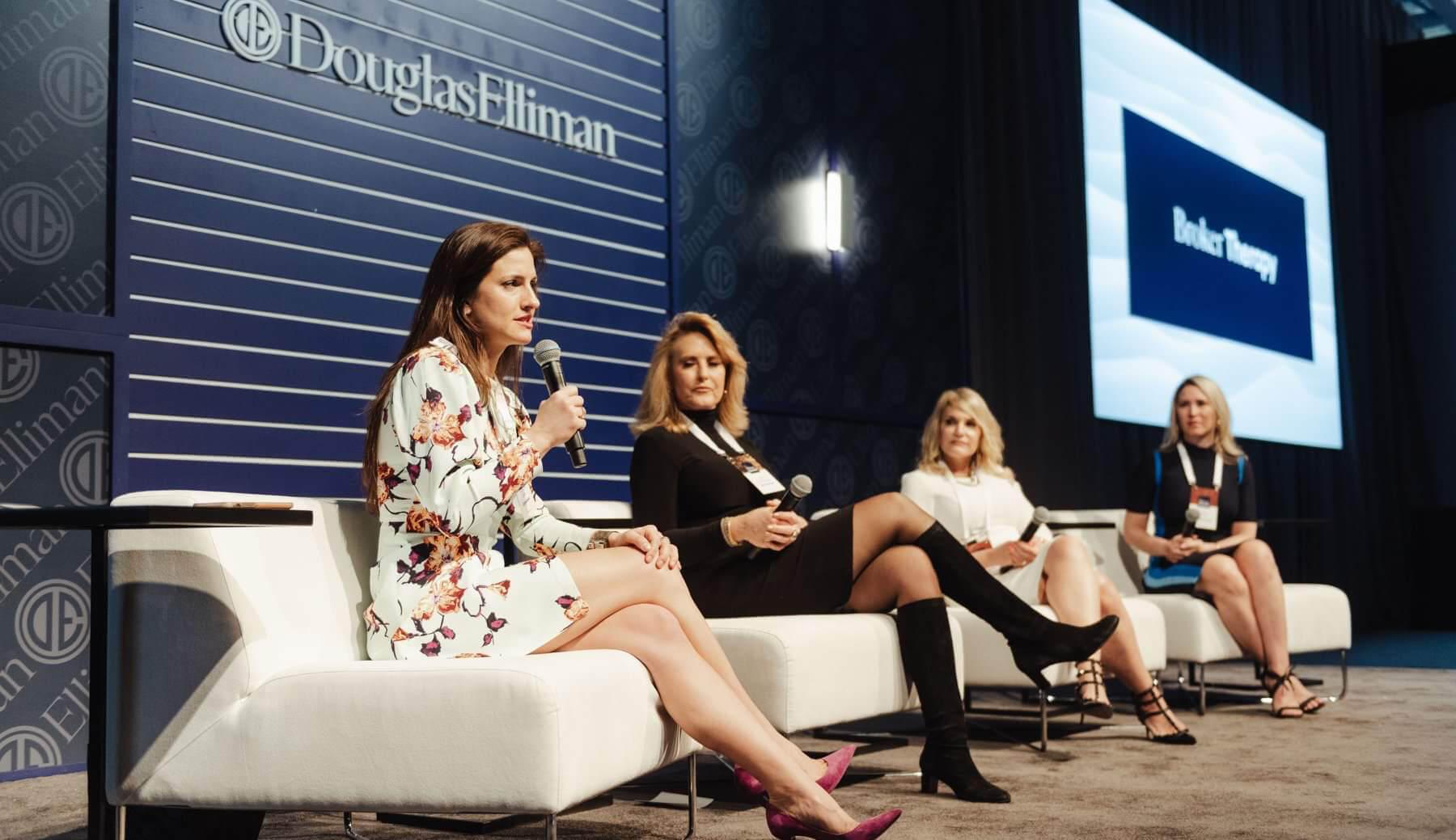 Panel speakers on stage