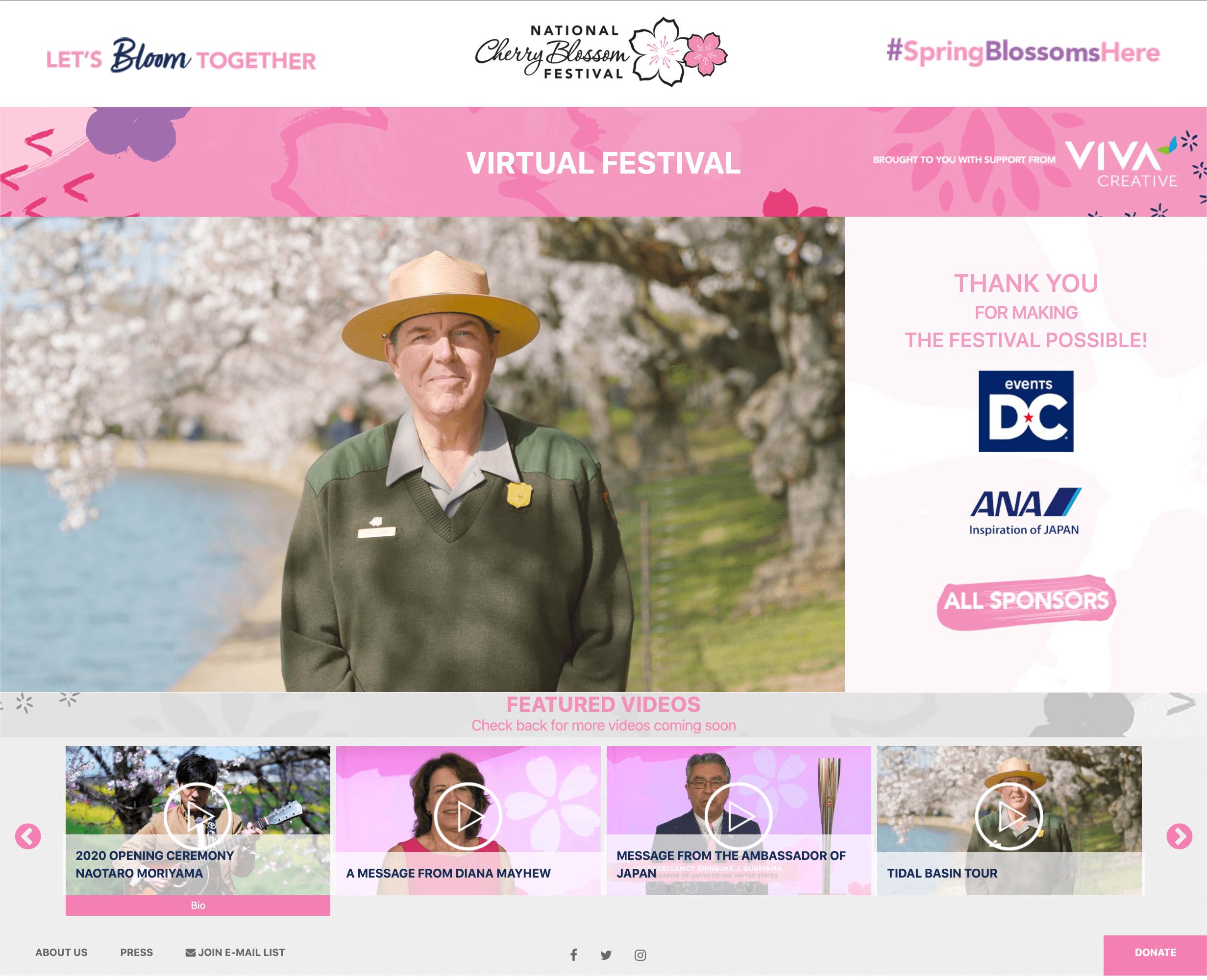 Custom designed microsite for National Cherry Blossom Festival