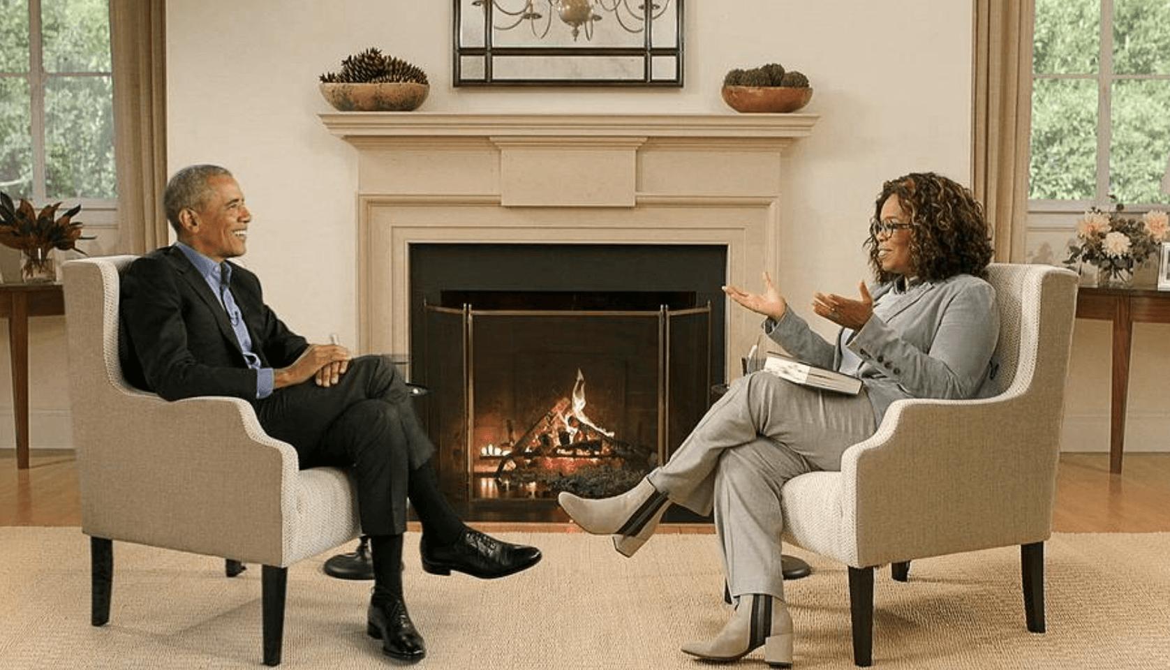 Oprah interviewing Obama on green screen