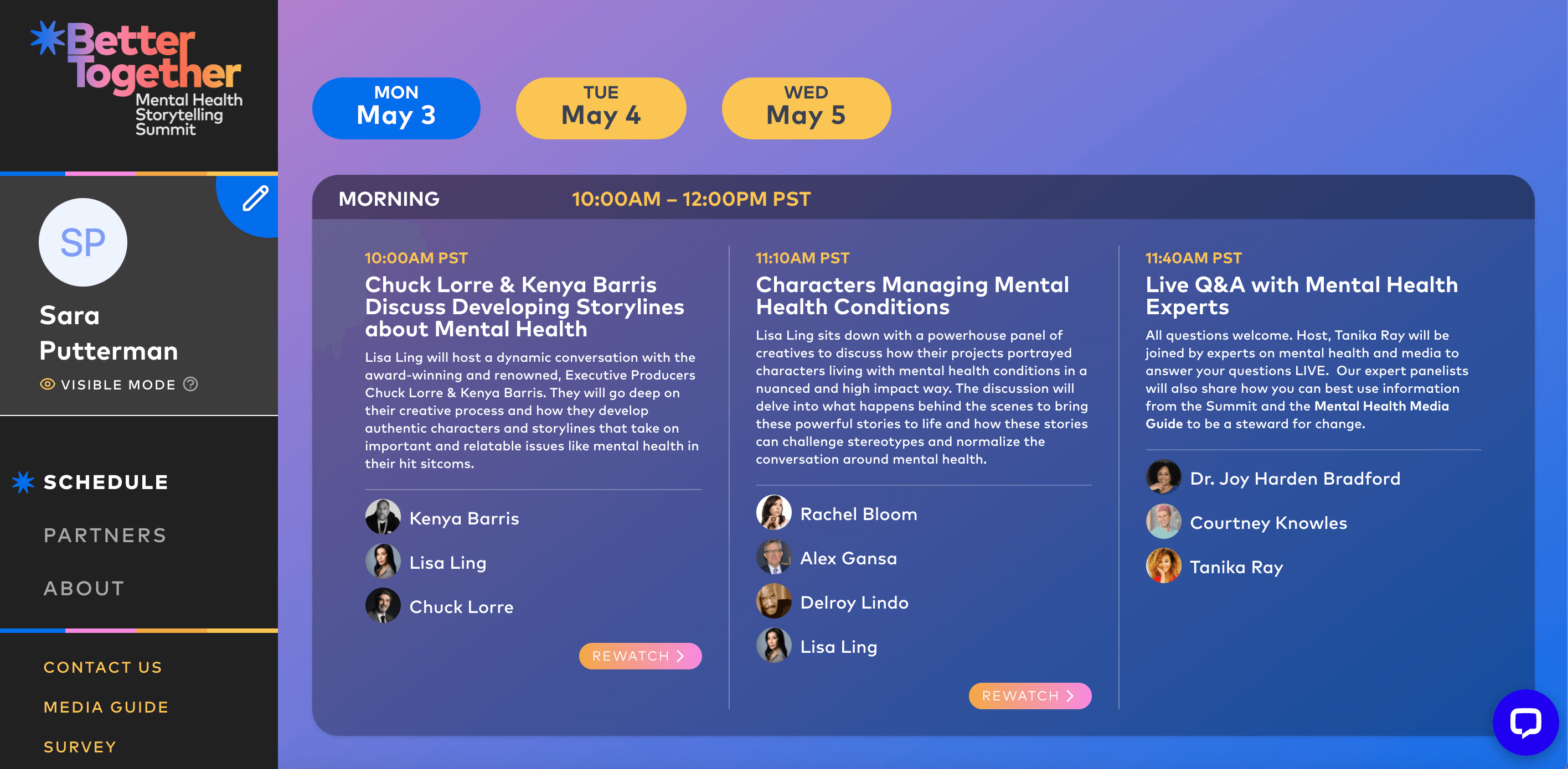View of MTV microsite with event schedule